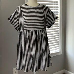 SHEIN grey white striped dress